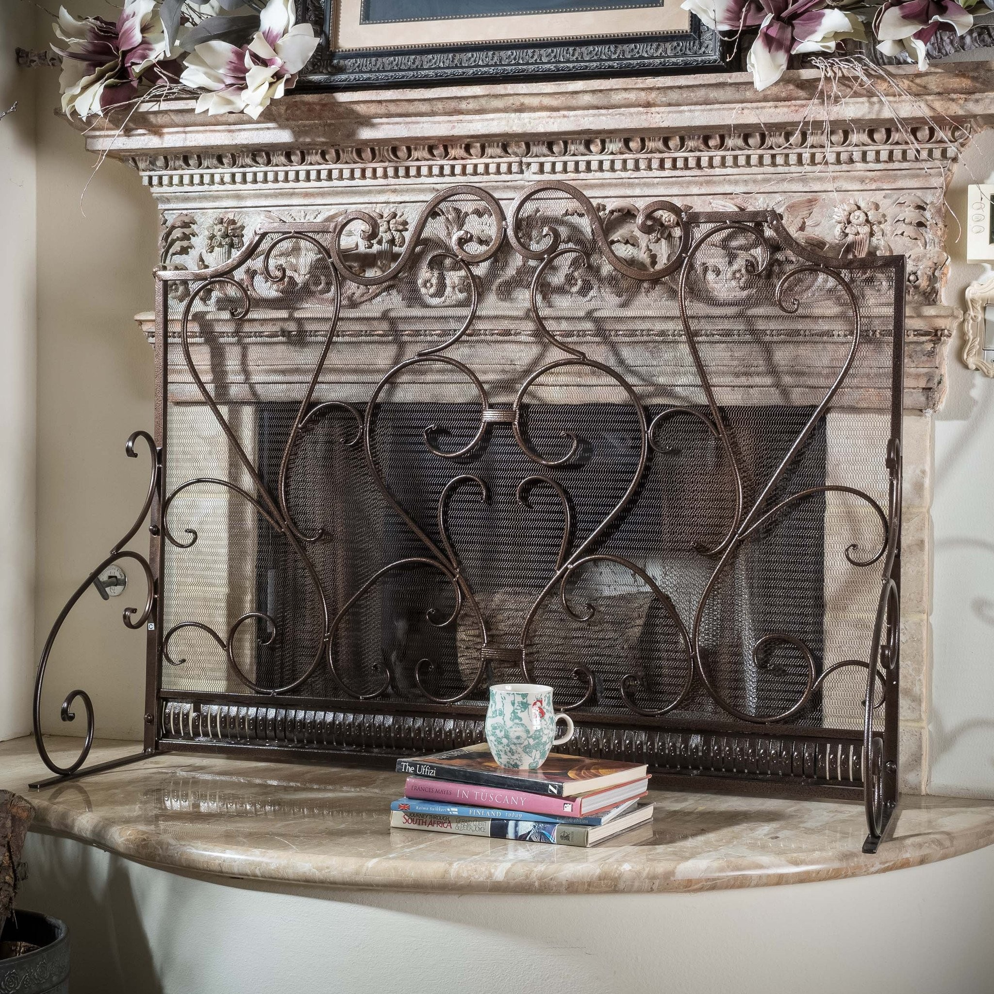 Adalia Black Brushed Gold Finish Wrought Iron Fire...