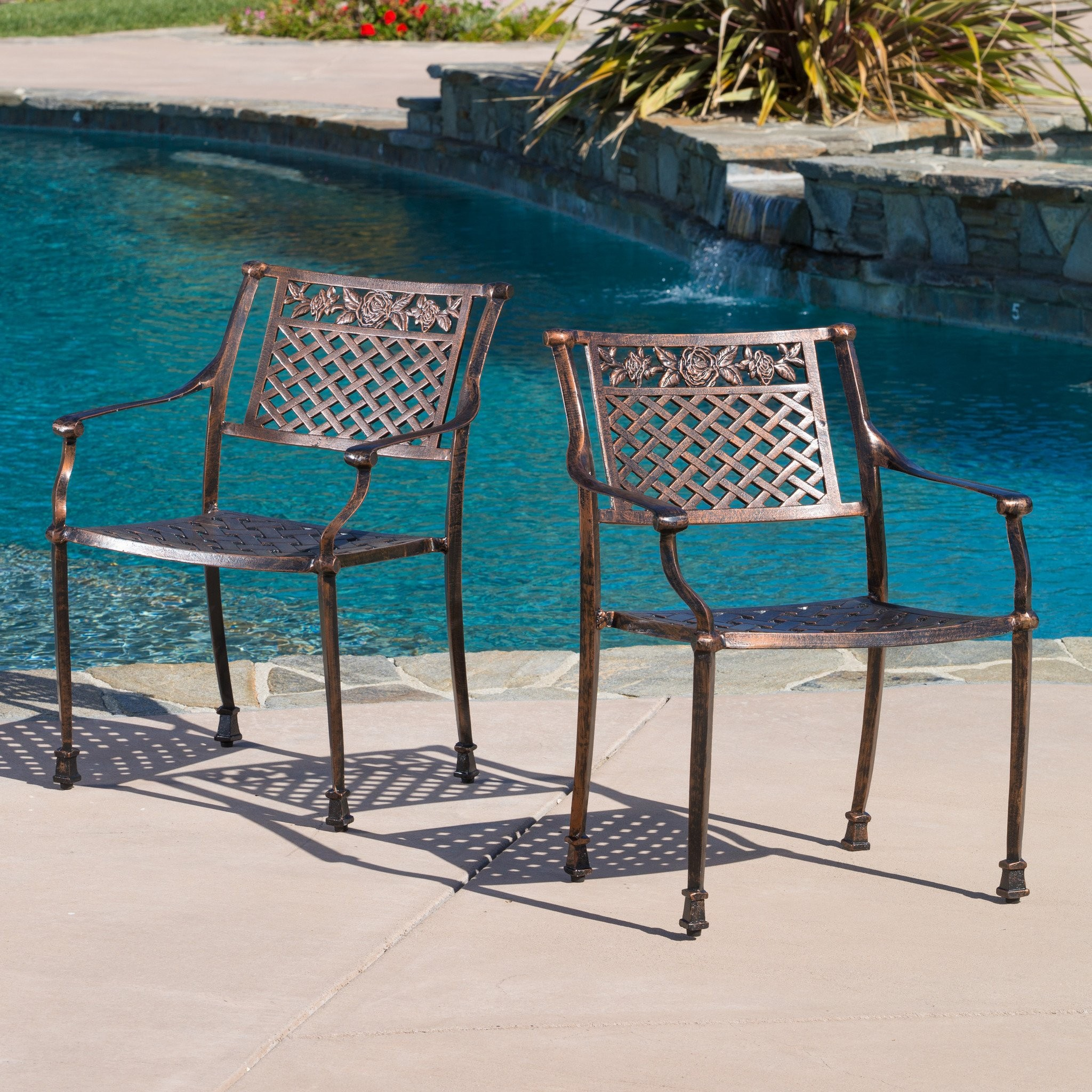 Sierra Outdoor Cast Aluminum Dining Chairs (Set of...