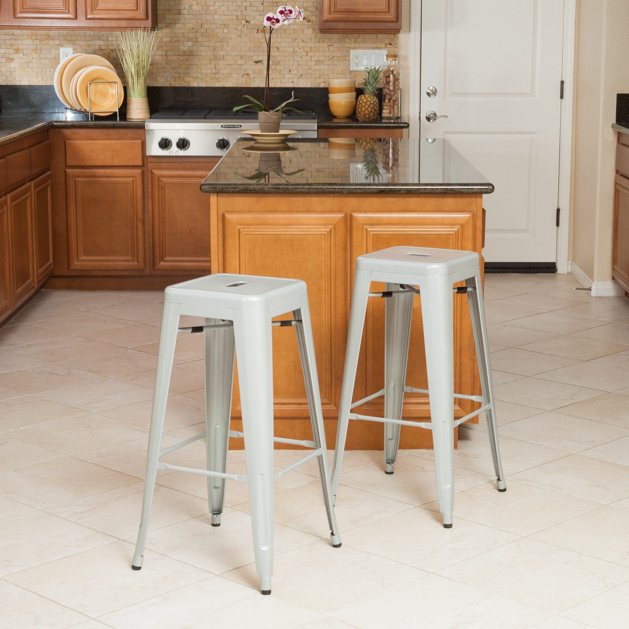 Munich Silver Steel Bar Stools (Set of 2)