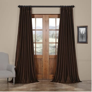 Coffee Bean Vintage Textured Faux Dupioni Silk Cur...