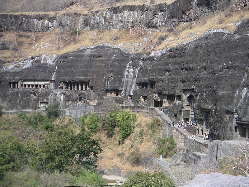 The Ajanta Caves are 30 (approximately) rock-cut B...
