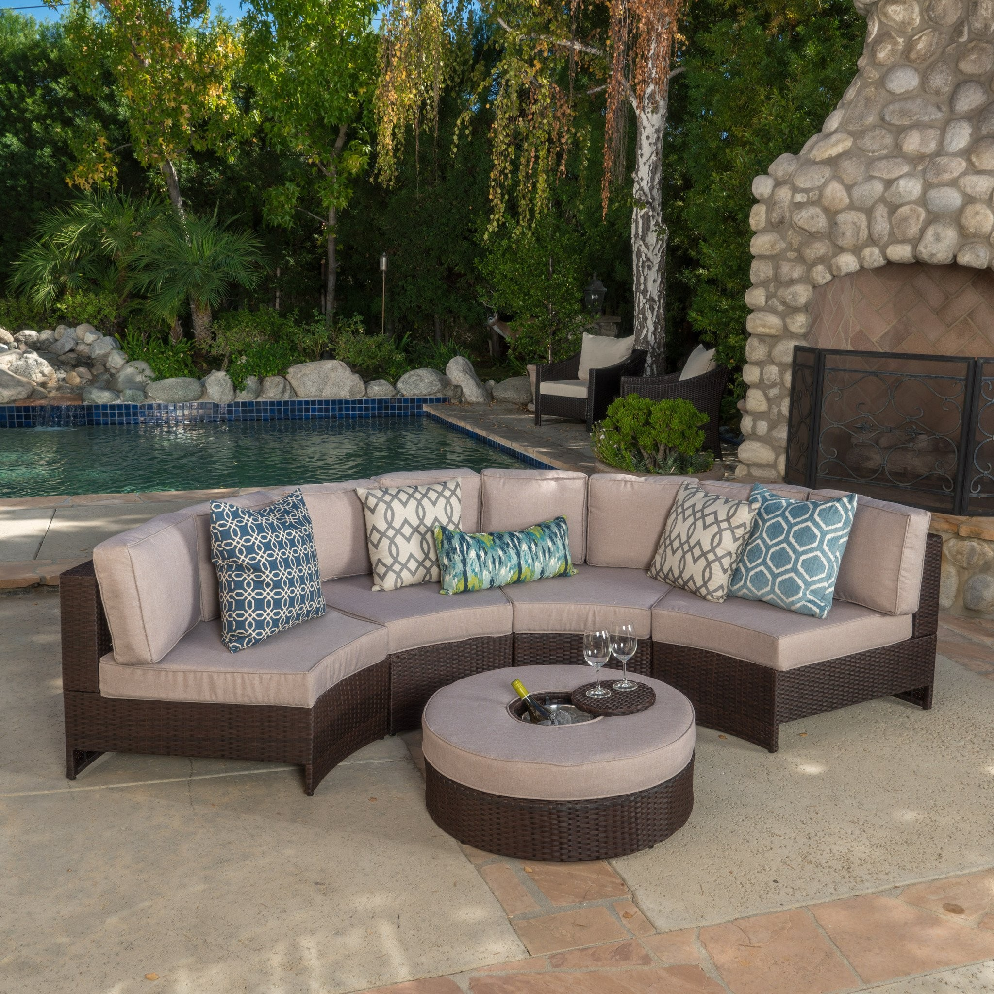 Riviera 5pc Outdoor Sectional Sofa Set w/ Ice Buck...
