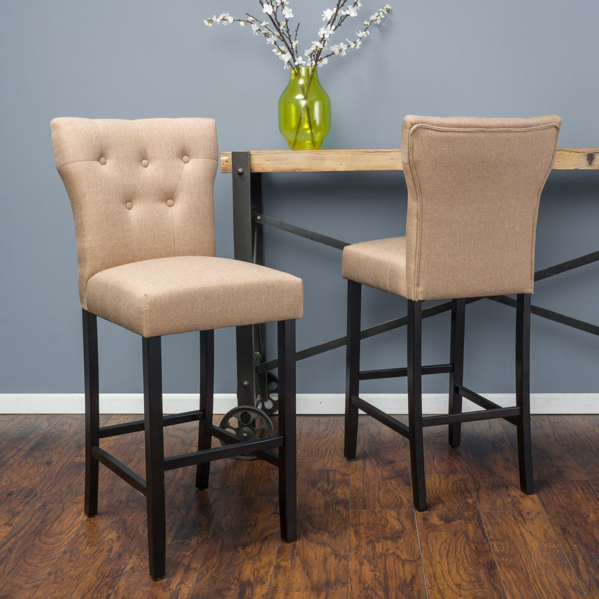 Pierre Brown Mocha Fabric Barstool (Set of 2)