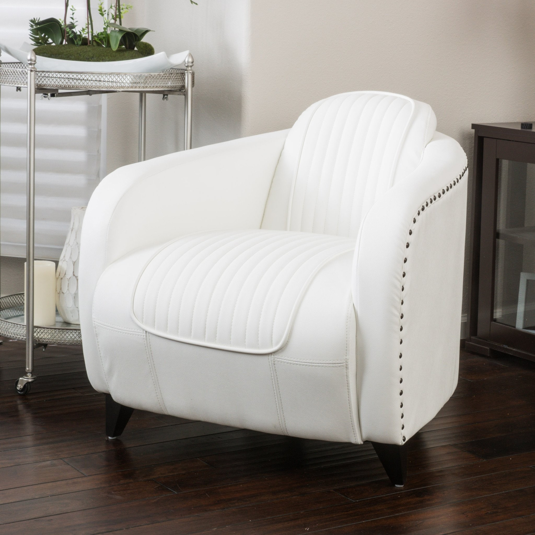 Lemay Channeled White Leather Club Chair