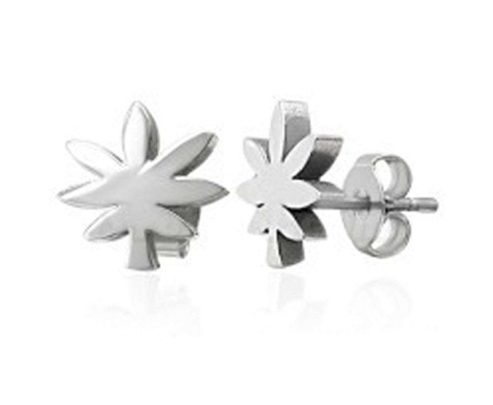 Marijuana Cut Out Style Earrings - Steel Pot Leaf...