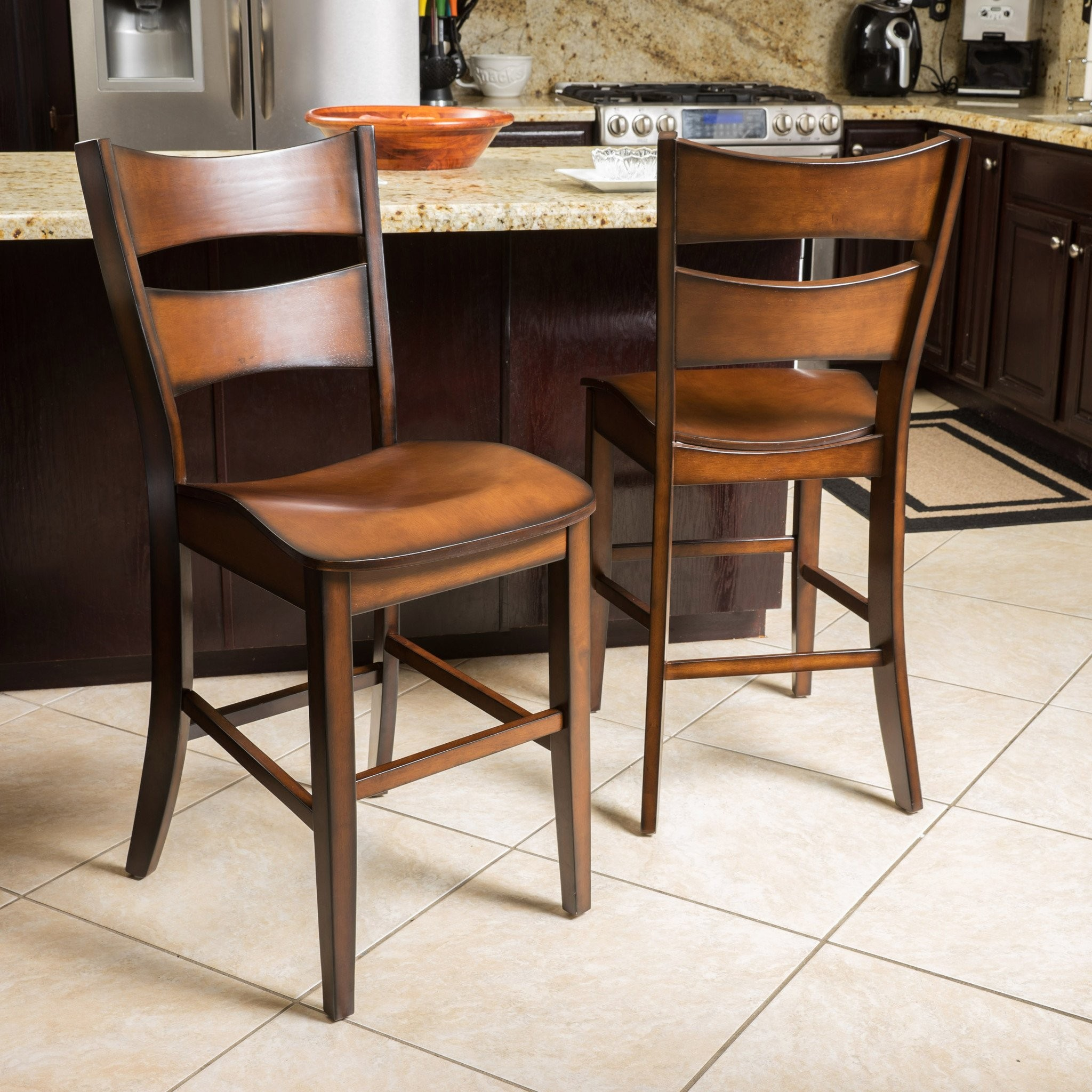 Norman Dark Brown Wood Counter Stool (Set of 2)