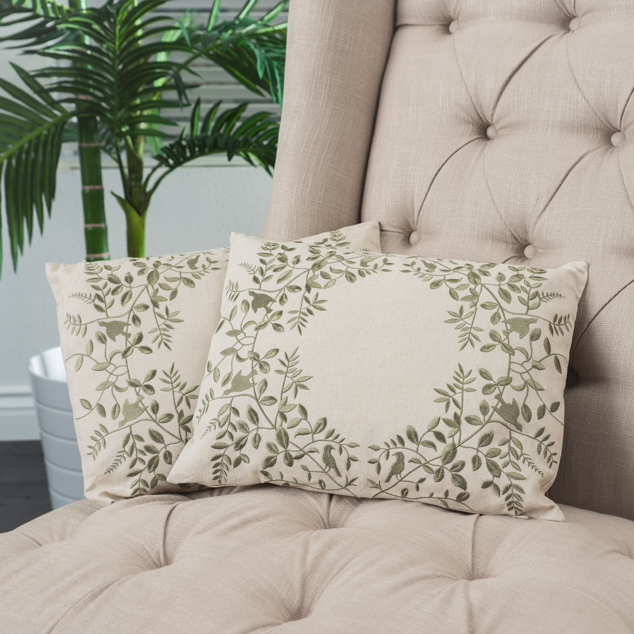 "18"" Beige Green Leaf Embroidered Throw Pillows (Se..."