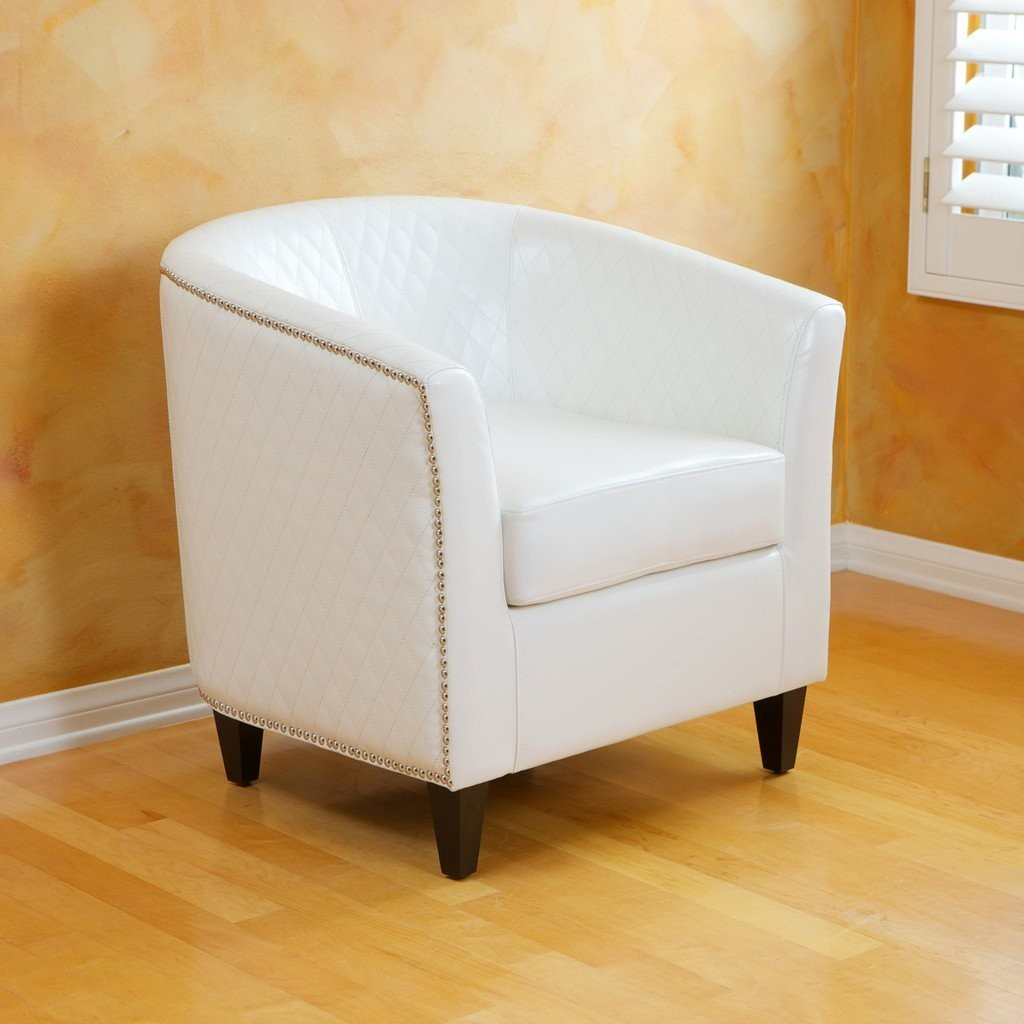 Marion Leather Quilted Club Chair in Ivory