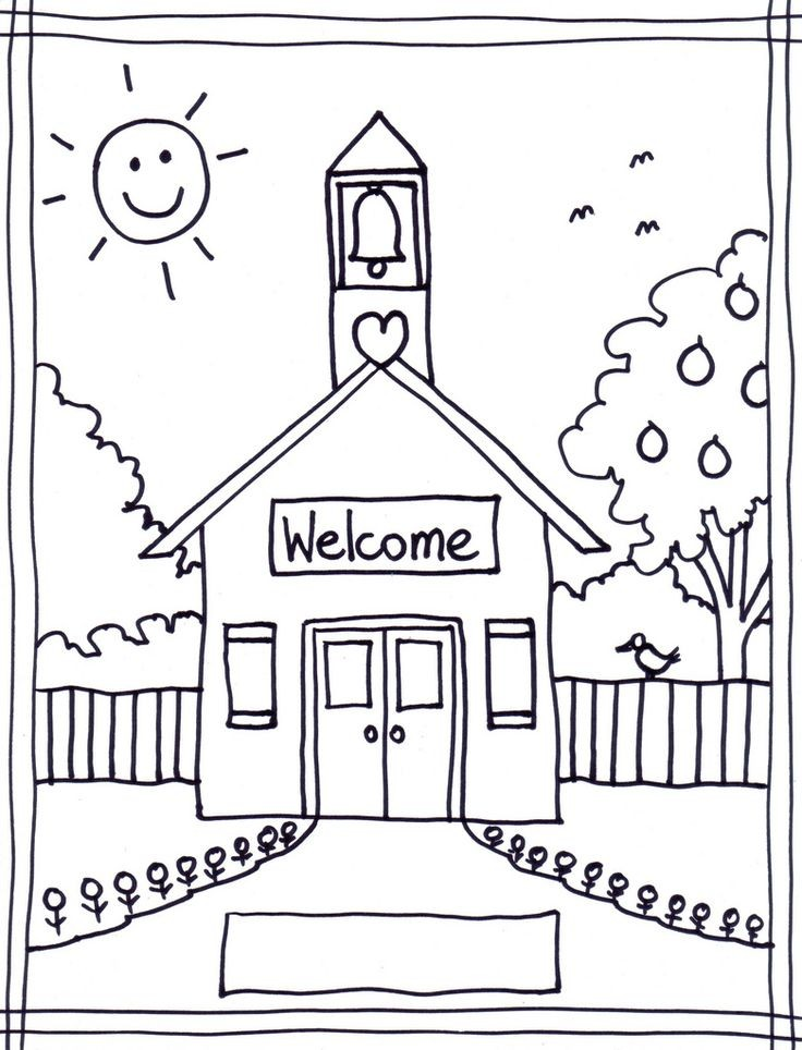 Back to School Coloring Pages | Schoolhouse colori...