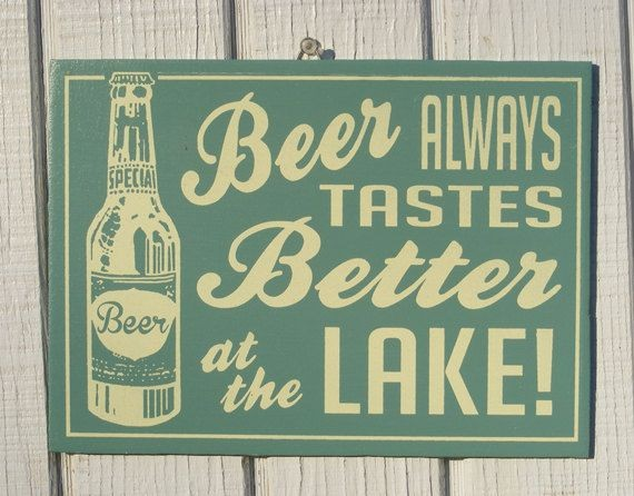 Retro Beer at the Lake Cottage Sign. $17.00, via E...