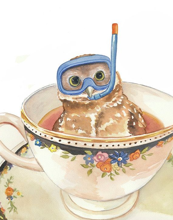Owl Watercolor PRINT Art, Teacup, Dive Mask, Nurse...
