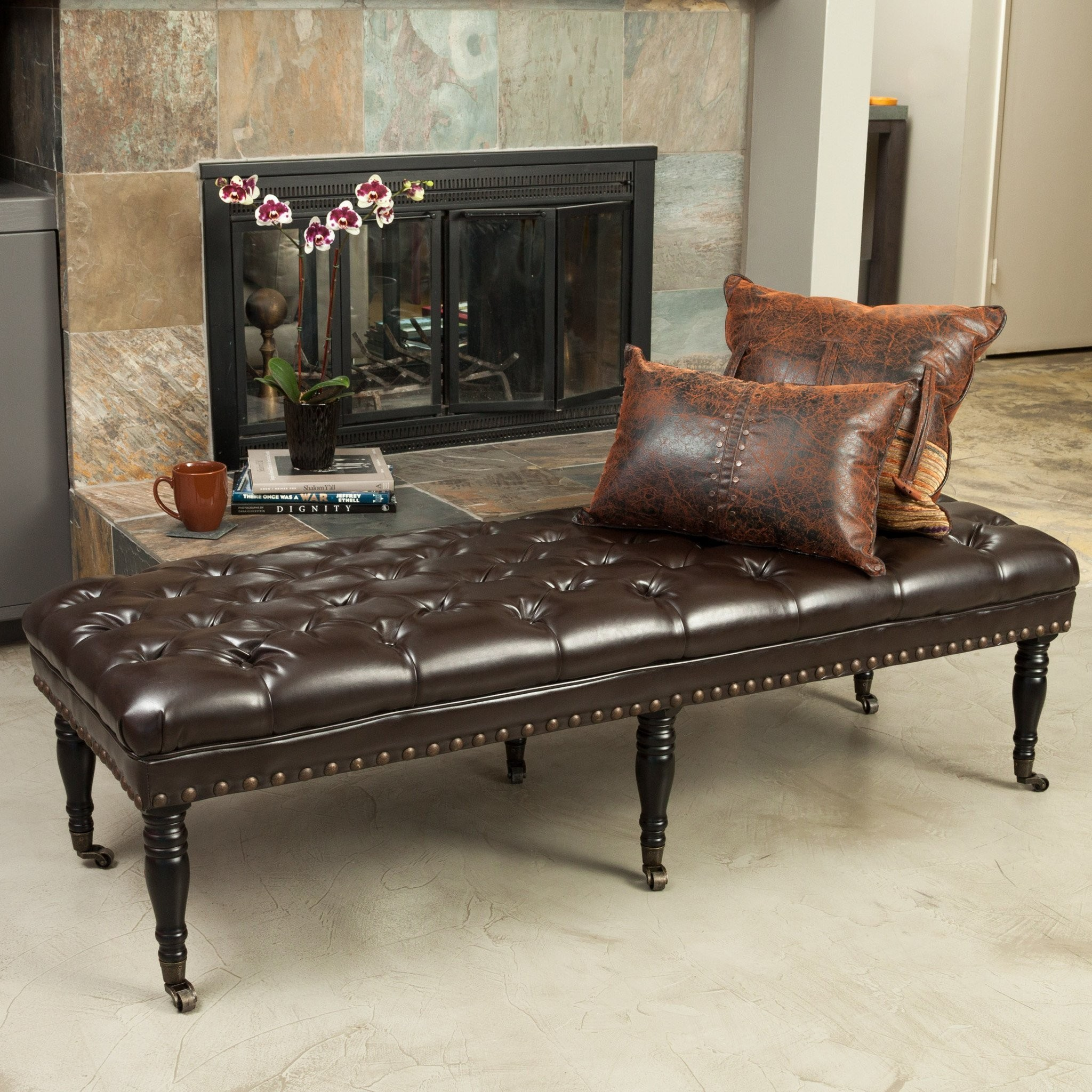 Clementine Ottoman Bench with Casters