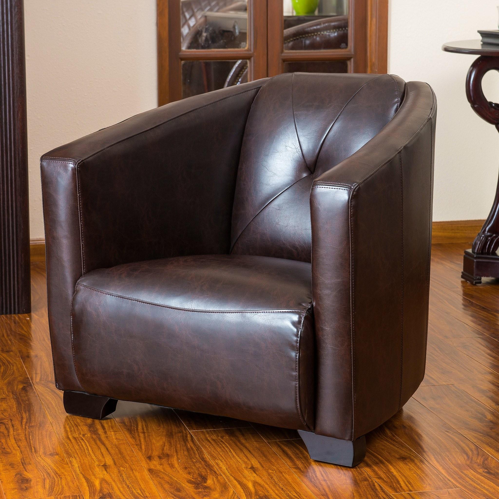 Bowman Brown Leather Club Chair
