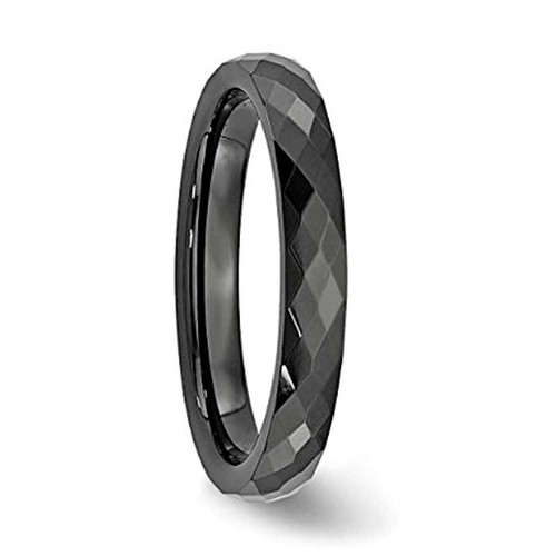 4mm - Women's Tungsten Wedding Band - Black Di...