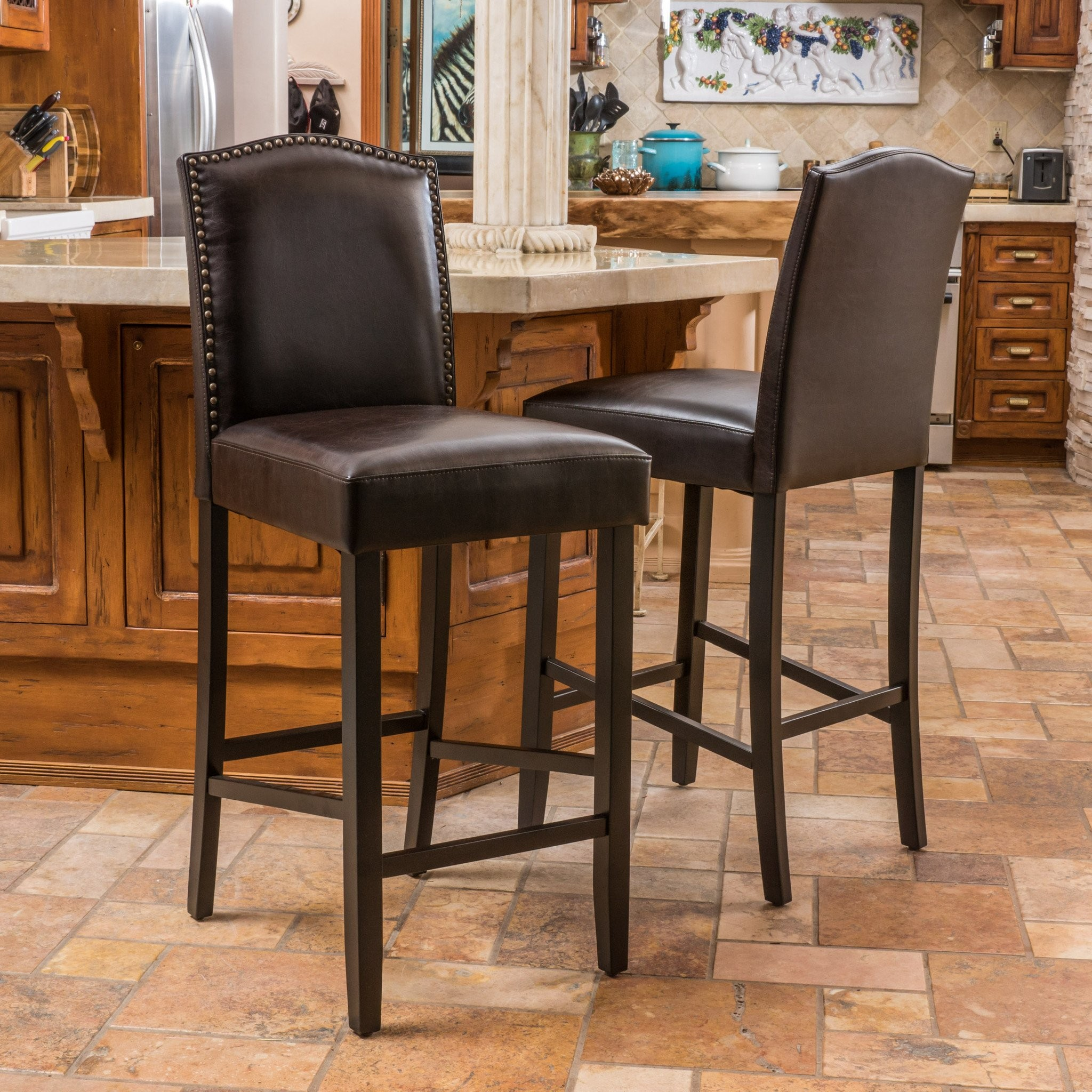 Auburn Brown Leather Backed Barstool (Set of 2)