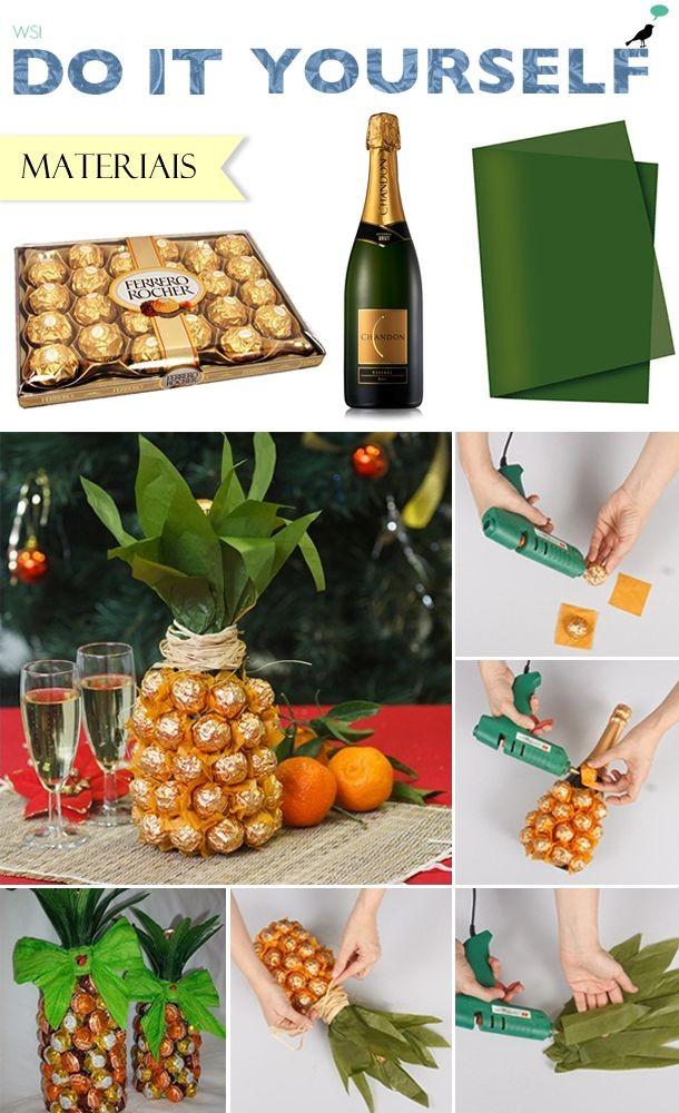 DIY: abacaxi de chocolate e champanhe; presente cr...