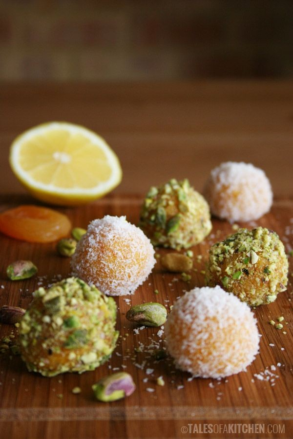 Apricot 'truffles' with pistachios and coconut. Re...
