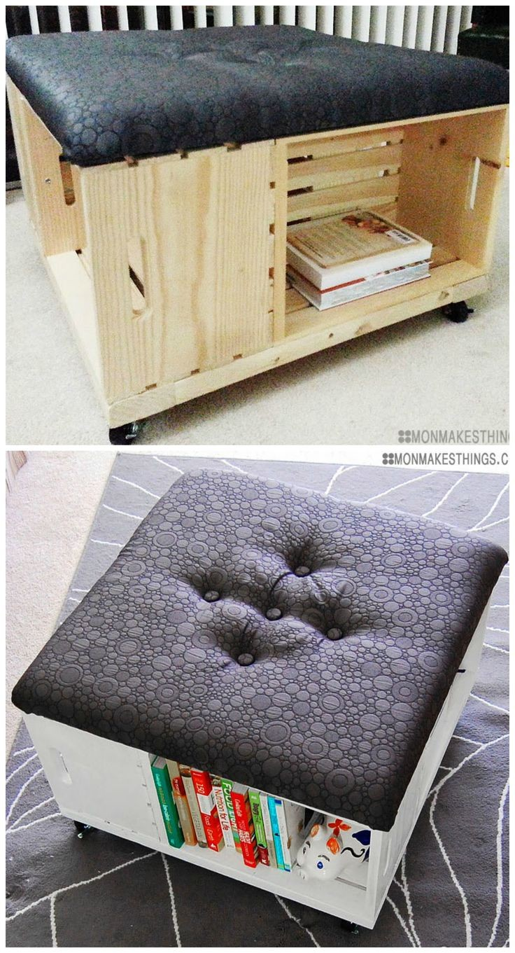 DIY Storage Ottoman made of wooden crates with awe...