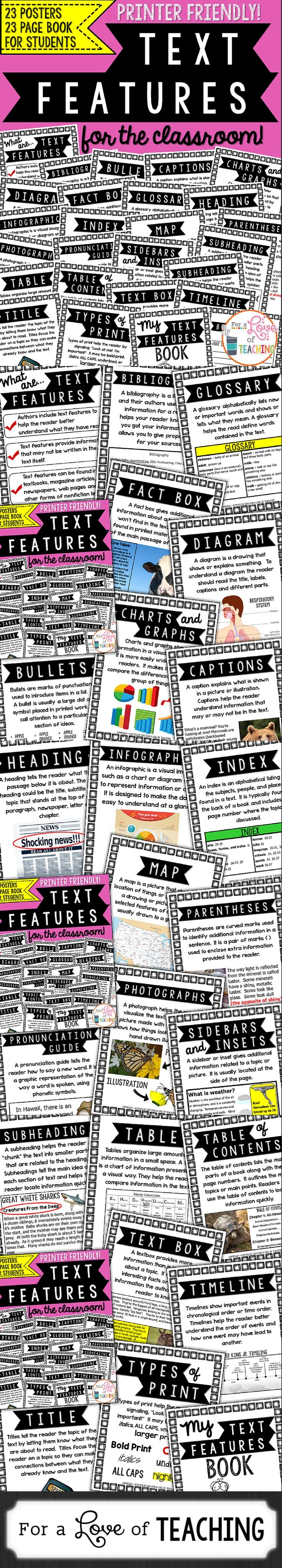 Text Features for the Classroom: 23 Non-Fiction Te...