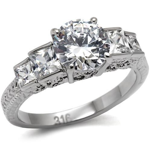 Emmas Classic 5 Stone Ring - Stainless Steel Engag...