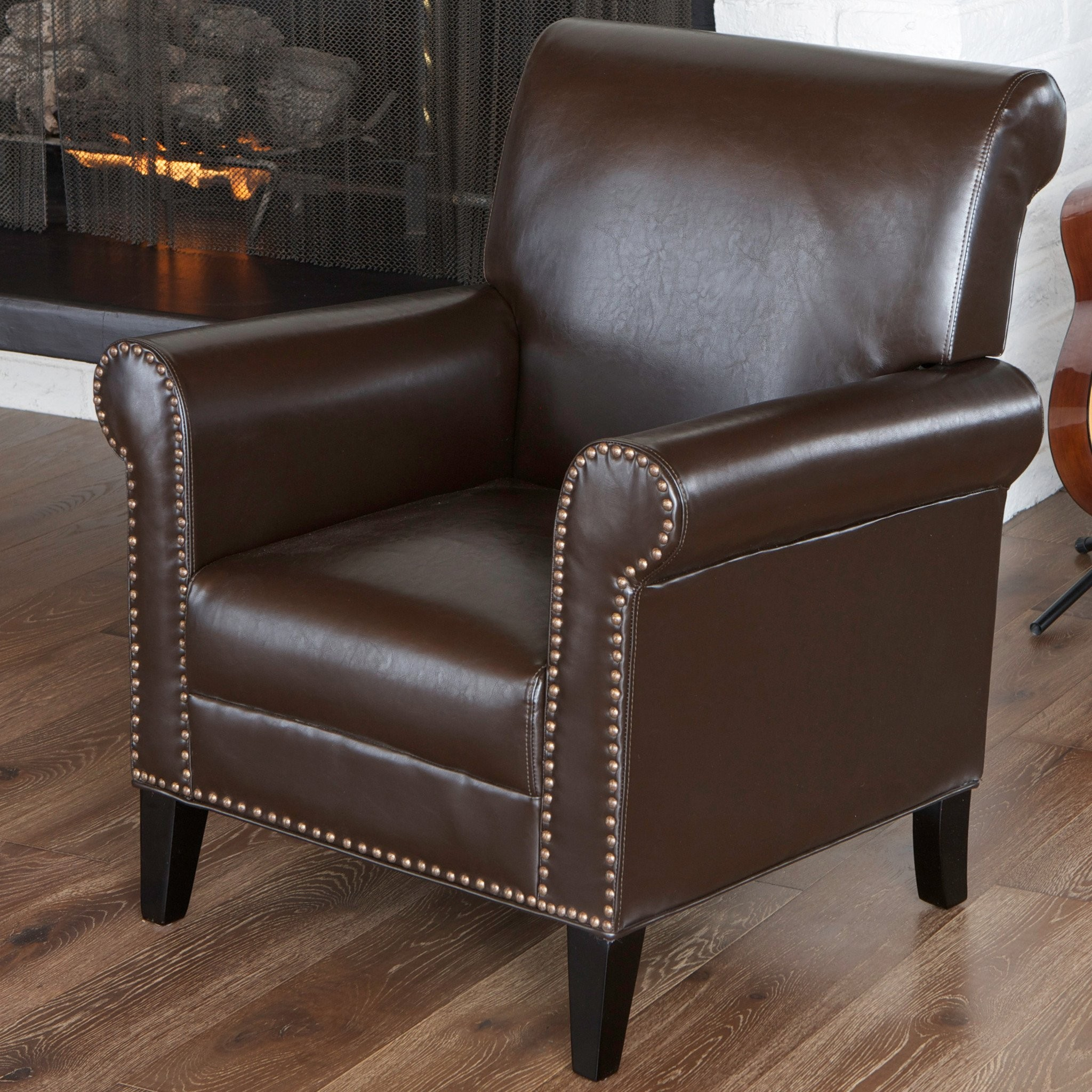 Ryker Chocolate Brown Leather Club Chair