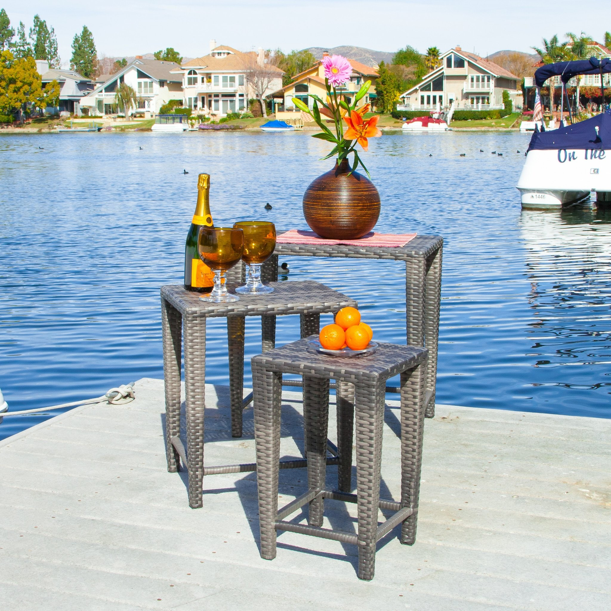 Sidney Outdoor Grey Wicker Nested Side Tables (Set...