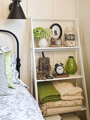Ladder-Style Shelving -- for books, a clock, littl...