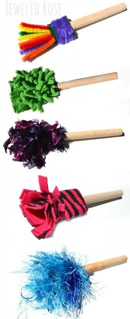 Make your own paint brushes using loose parts from...