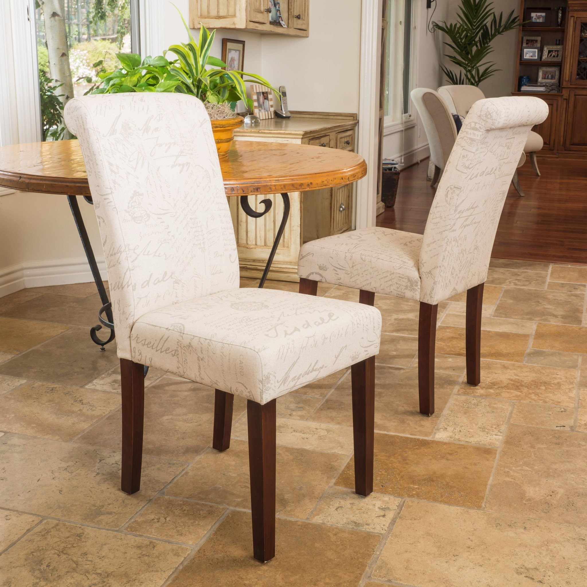 Cosette Script Printed Beige Linen Dining Chairs (...