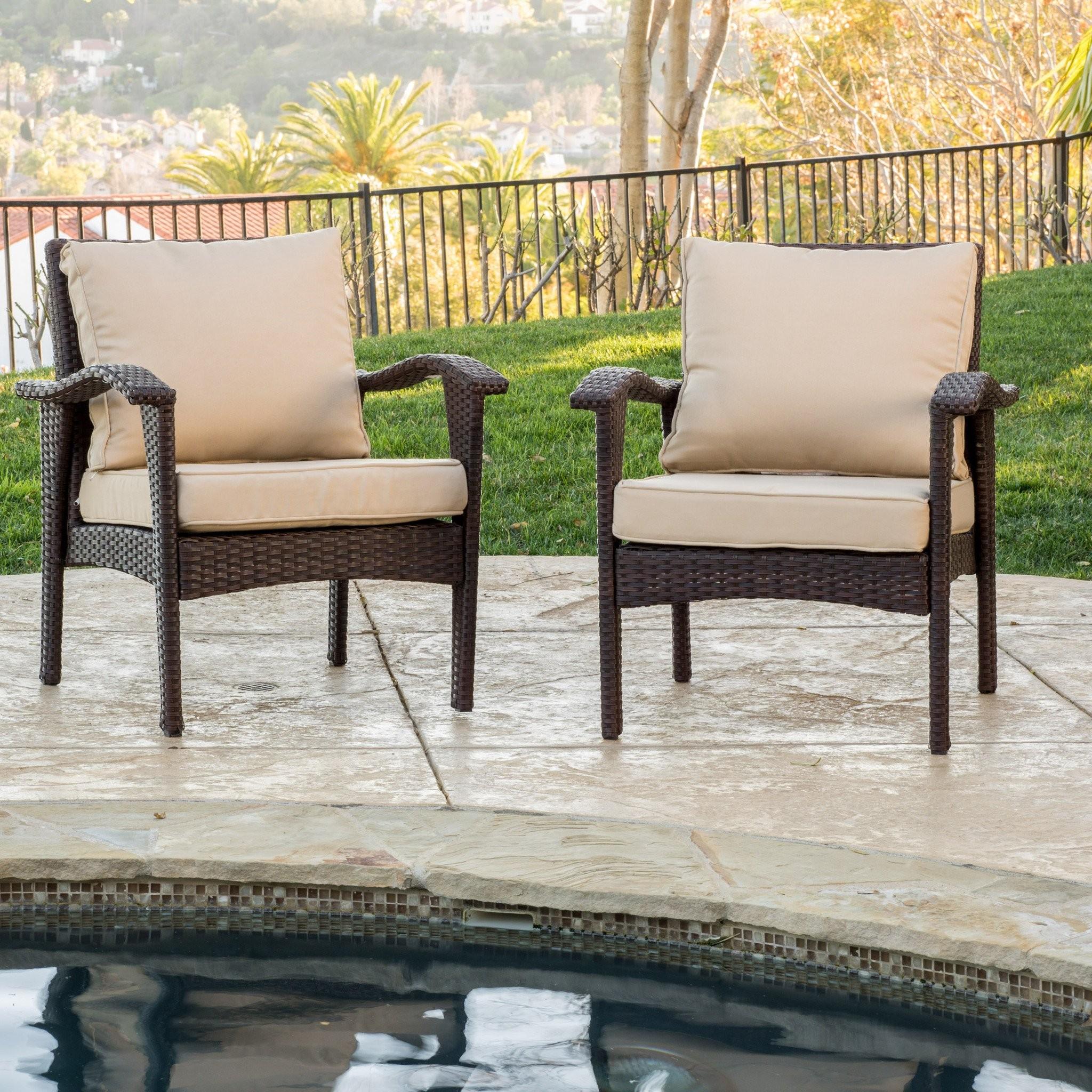 Bleecker Outdoor Brown Wicker Club Chair w/ Cushio...
