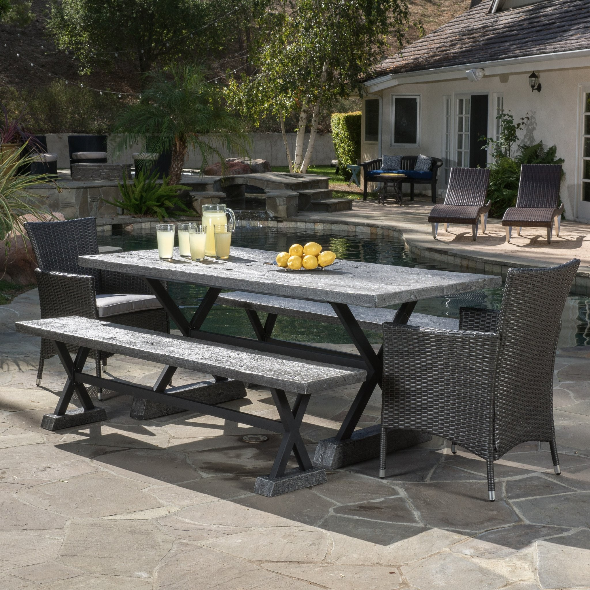 Snyder Outdoor 5-piece Grey Picnic Dining Set