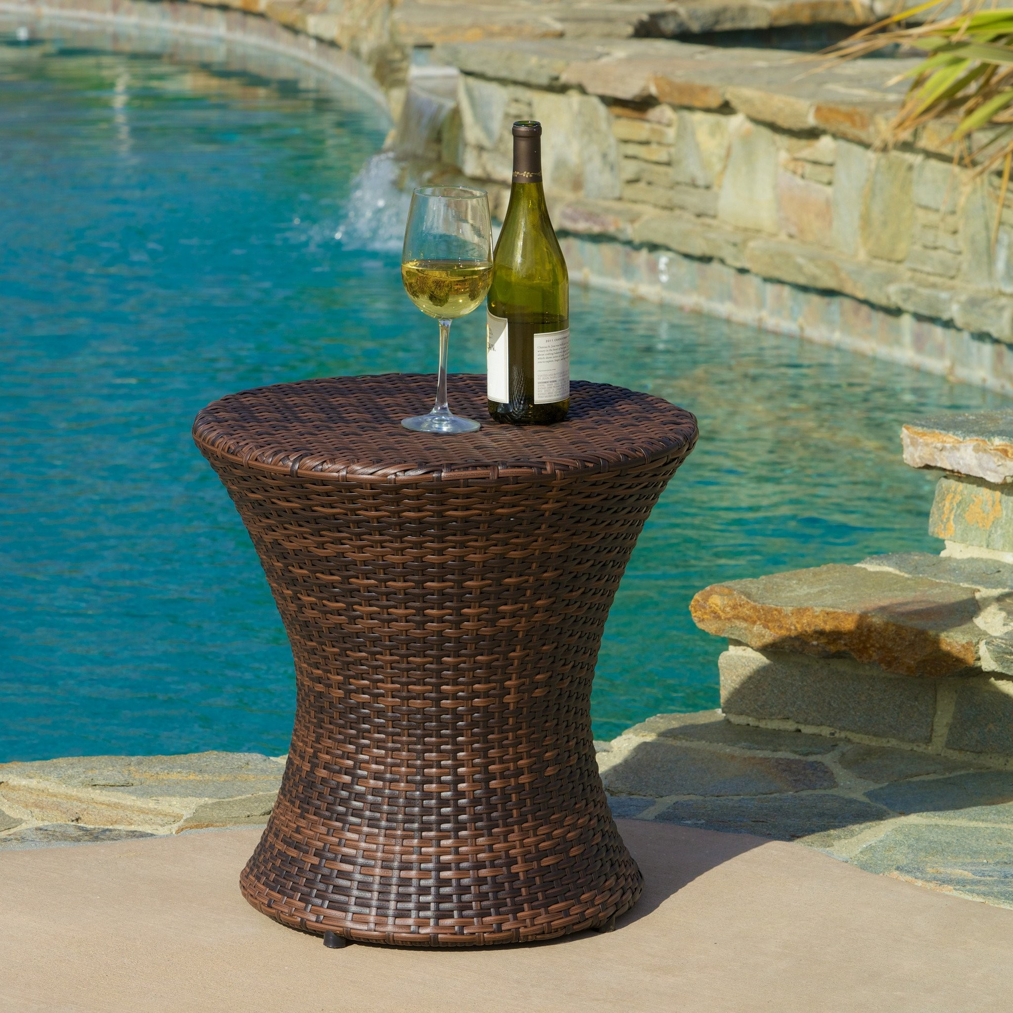 Townsgate Outdoor Brown Wicker Hourglass Side Tabl...