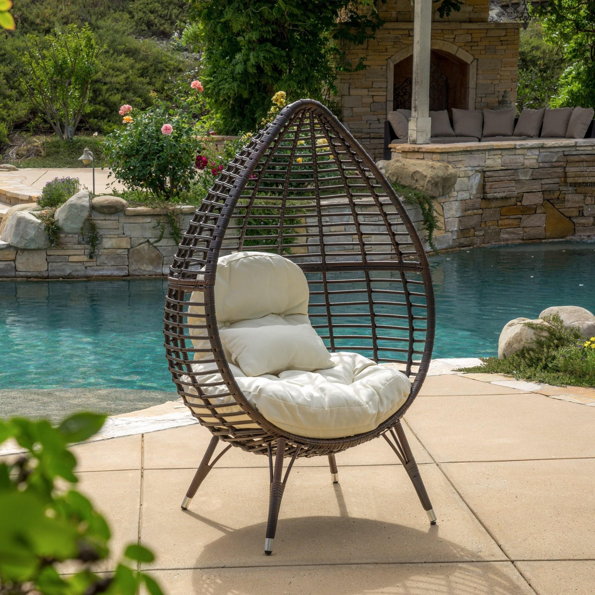 Dermot Multibrown Wicker Lounge Teardrop Chair w/...