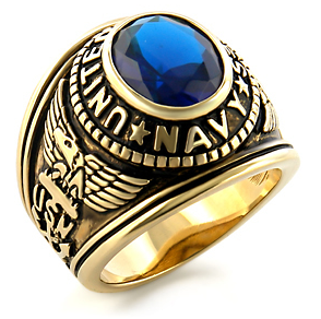 USN - Navy Military Ring (Gold with Blue Stone). U...