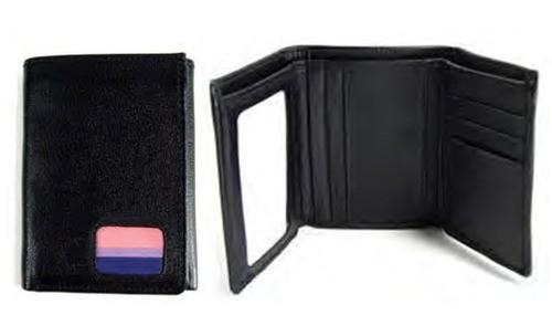 (Bi Pride Flag) Black Leather Trifold Wallet - LGB...
