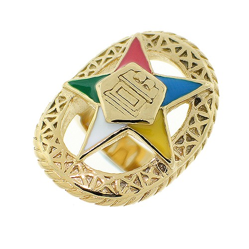Order of the Eastern Star Ring - Gold Color Steel...