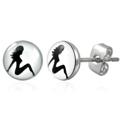 Hot Girl - Stud Earrings (White Circle & Black...