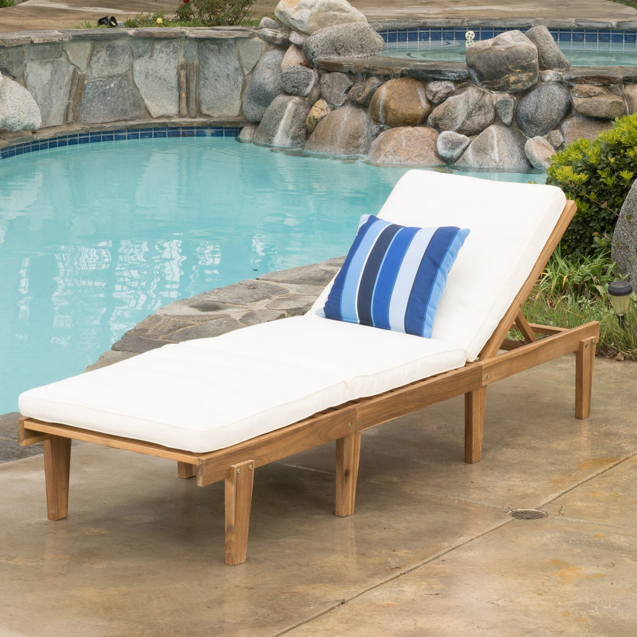 Paolo Outdoor Teak Brown Wood Chaise Lounge with C...