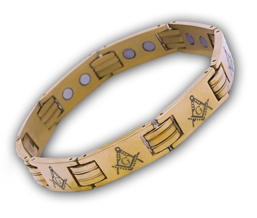 Masonic Bracelet - Gold Color Stainless Steel Acro...