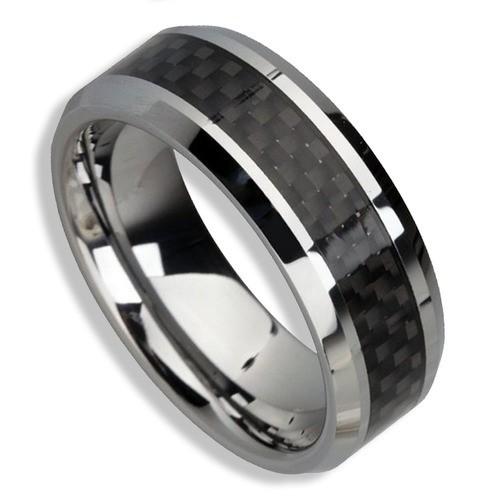Men's Tungsten Ring (Black Carbon Fiber Inlay...
