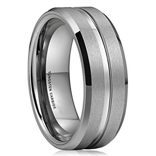 8mm - Unisex or Men's Tungsten Wedding Band. S...