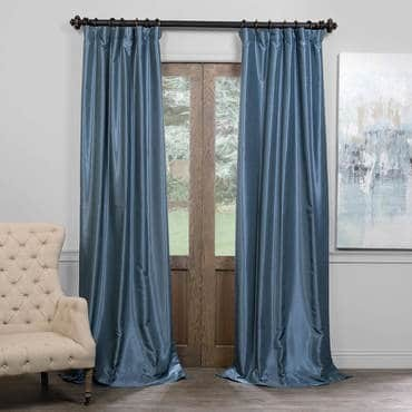 Provencial Blue Blackout Vintage Textured Faux Dup...