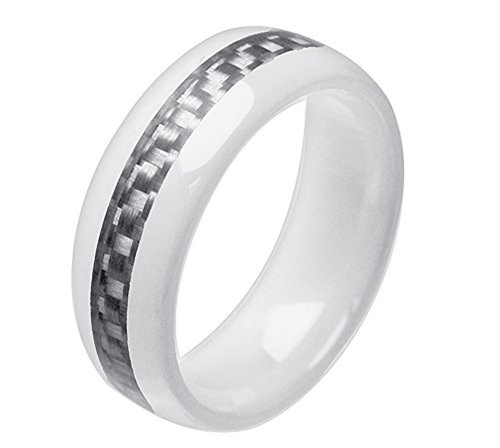 8mm - Unisex or Men's Ceramic Wedding Band. Wh...