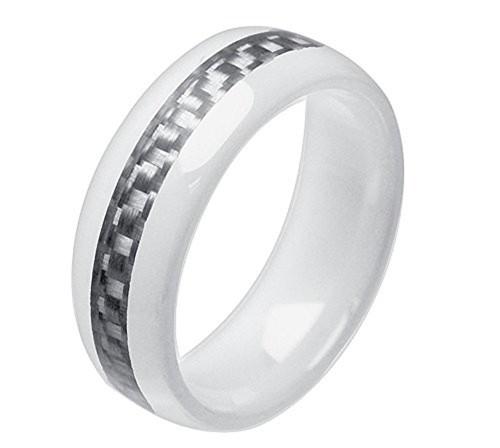 8mm - Unisex or Men's Ceramic Wedding Band. Wh...