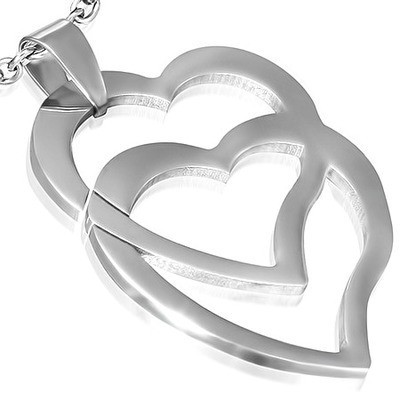 Womens Double Overlapping Hearts Pendant Necklace...
