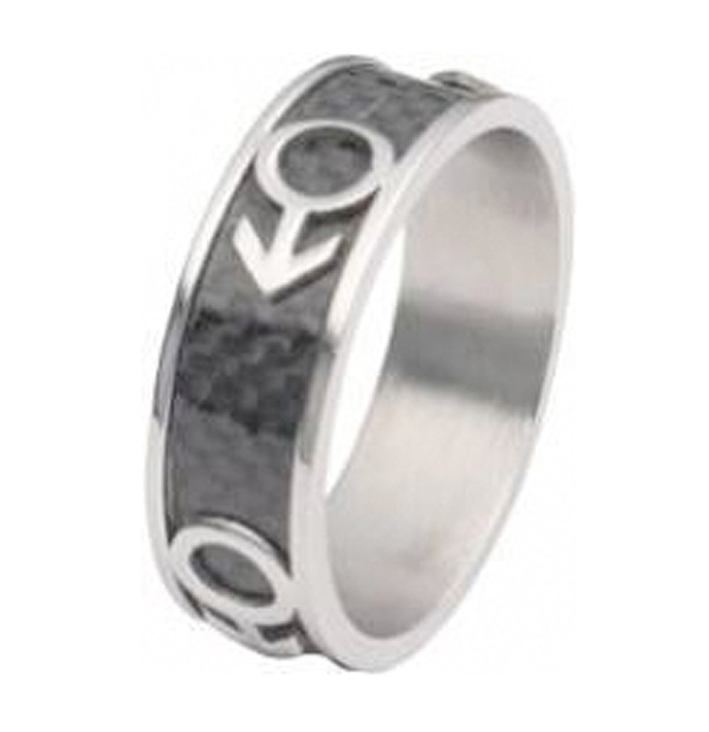 Mars Male Symbol Black Carbon Fiber Ring - Steel G...
