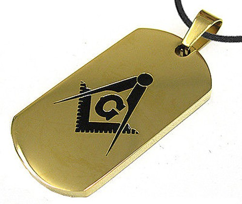 Gold Color Masonic Dog Tag Smooth Square & Com...