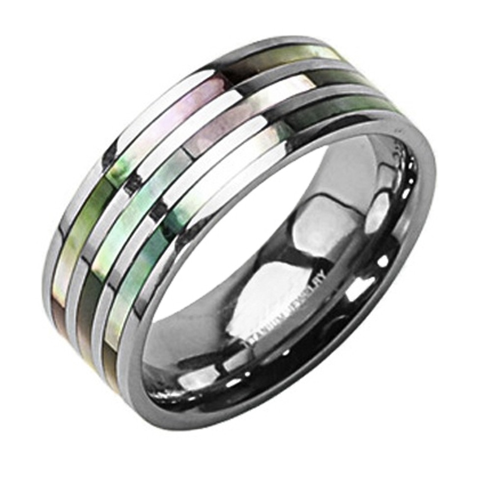 Triple Multi Color Abalone Inlay Ring - Titanium S...