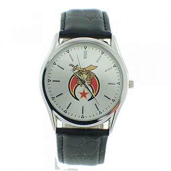 Masonic Shriners Watch - Silver Face Black Leather...
