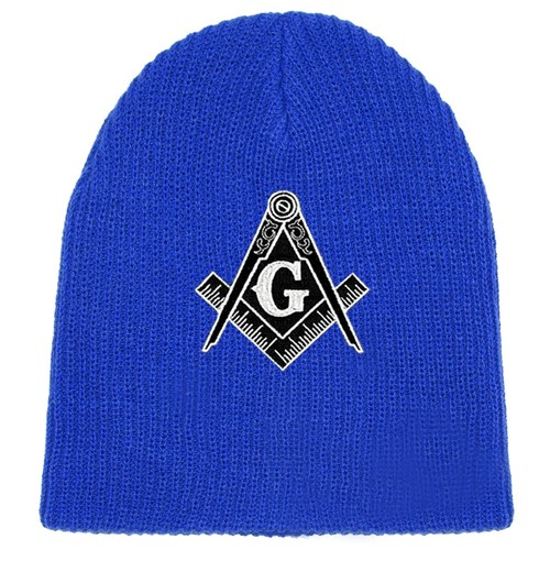 Masonic Hat Winter - Blue Beanie Cap - Black and W...